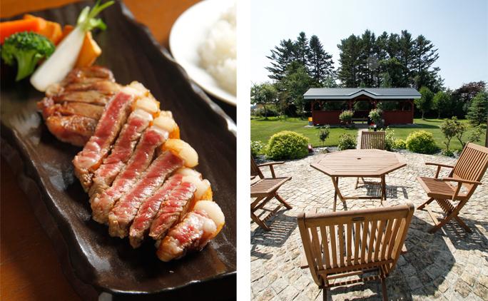 写真右/事務所前に広がる庭園。奥のロッジでは社員みんなで焼き肉を行うことも。