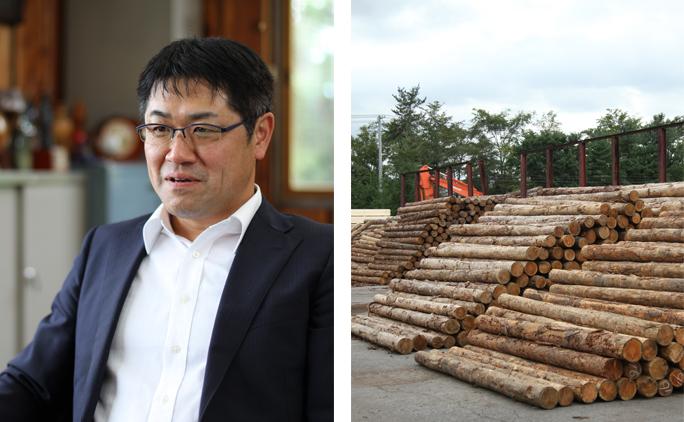 写真右/カラマツの原木。木を伐る行為が環境に悪いという誤解もあるが、若木の生長を妨げないよう計画的に伐採することで、森林の保護につながっている。 写真左/社長の松永秀司さん。