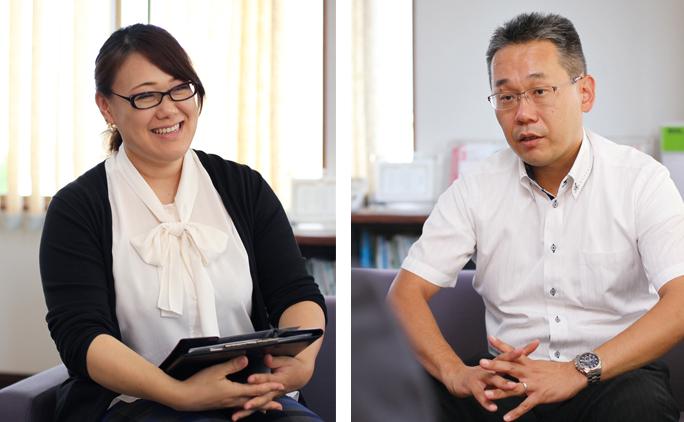 営業部長の能瀬さん(写真右)と、総務部長の森由梨加さん(写真左)。2人ともほぼ同時期に入社し、社歴は15年ほどになるという。