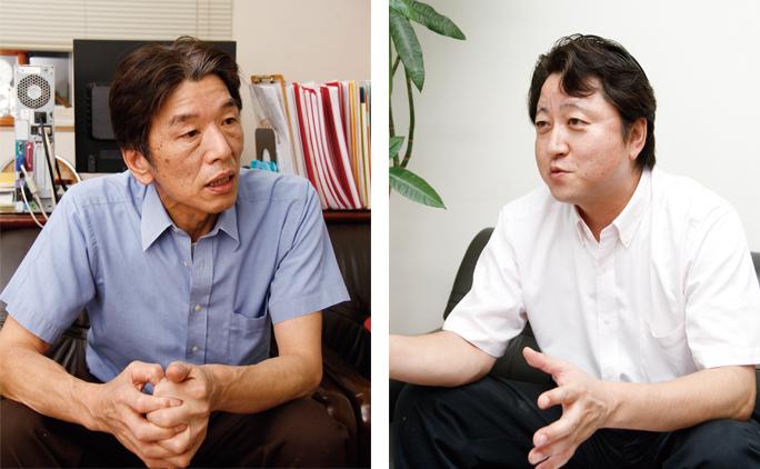 代表取締役社長の横山さん(写真右)と、自らも営業に出向くという工場長の小林さん(写真左)。「手作りの良さと食材のうま味を活かした惣菜を提供していきたい」と語ってくれた。