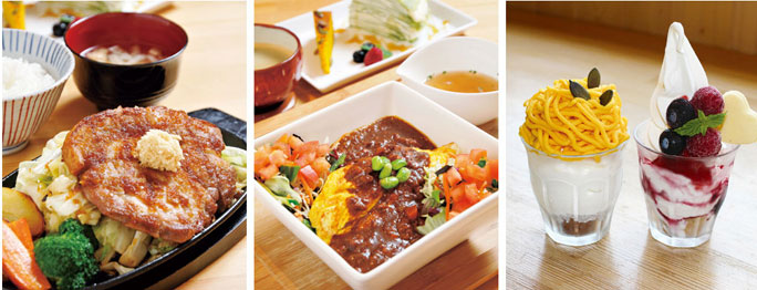 自家製野菜のほか、中札内産の食材を使った野菜たっぷりのメニューが中心。
